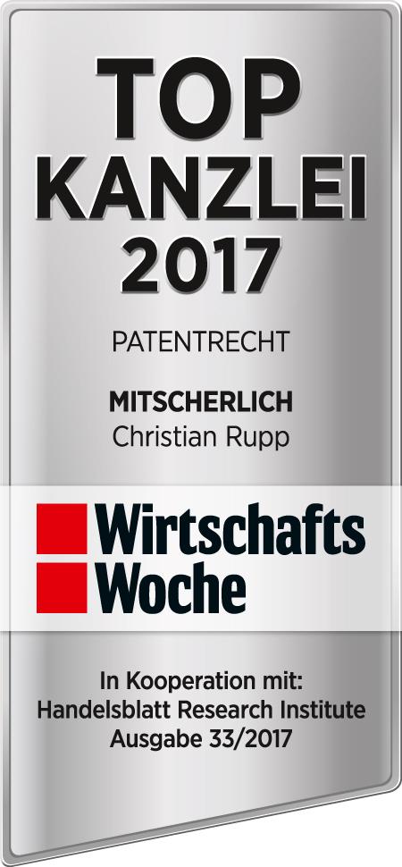 Top Kanzlei Patentrecht 2017 - Christian Rupp